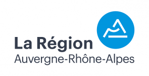 Logo Région Auvergne Rhône Alpes AURA -Typo gris pastille bleue